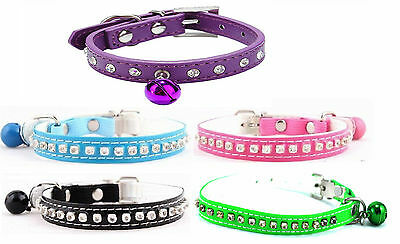 Cat Collars With Bell Pu Leather Diamonds & Buckle  Size