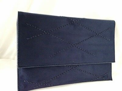 New Navy Blue Faux Suede Evening Day Clutch Bag Envelope Style Xmas Club Party