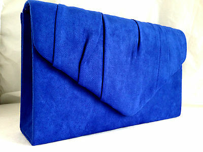 New Royal Blue Faux Suede Evening Day Clutch Bag Shoulder Xmas Club Party Prom