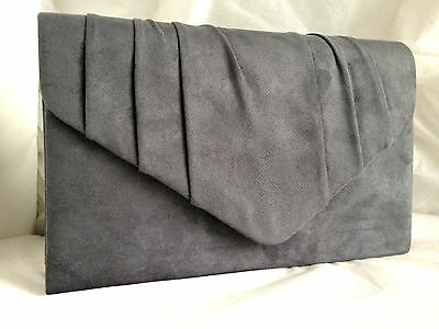 New Dark Grey Faux Suede Evening Day Clutch Bag Shoulder Xmas Club Party Prom