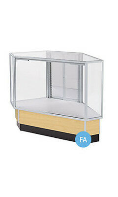 """Maple Finished Full Vision Rear Access Corner Display Case 38""""H x 20""""D x 34""""L"""