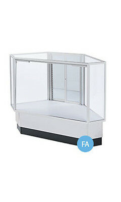 """Gray Finished Full Vision Rear Access Corner Display Case 38""""H x 20""""D x 34""""L"""