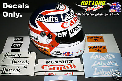 Nigel Mansell Arai 1:2 Helmet Missing Decals Stickers cut Vinyl 1992 F1 Champion