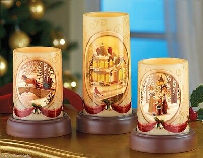 Christmas Winter Holiday LED Flameless Victorian Candles 6PC Set Plastic NEW