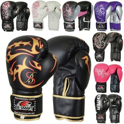 BS Maya Leather Boxing Gloves MMA GEL Punch Bag Muay Thai Kick Boxing UFC Train