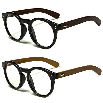 New Vintage Style Clear Lens Round Glasses Black WOOD Temple Unisex Eyeglasses