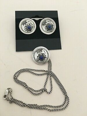 Western Sterling Silver Earring-Necklace Set/ Lapis/Chain Included/Handmade