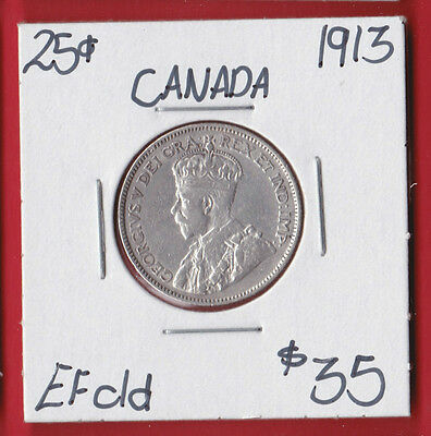 1913 25 Cent Canada Silver Twenty Five Cents Quarter Coin Cleaned 6513   EF