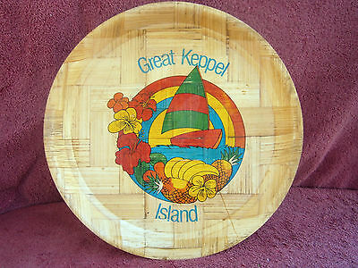 Vintage  Great  Keppel  Island  Light  Pressed  Match  Wood  Tray