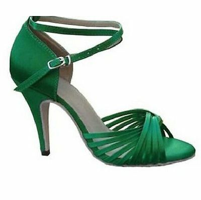 Green Satin Classic Ballroom Latin Salsa Tango Dance Shoes ALL SIZE