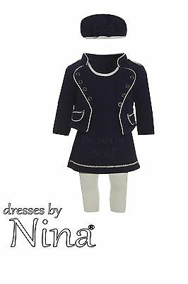 Girl Quality Dress Outfit Navy BLue Baby  Girl Set White Leggings 3mth to 4yr