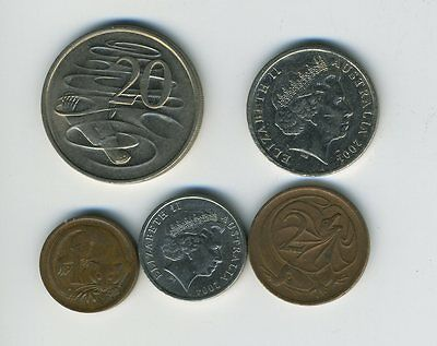 Australia - Lot of 5 Coins - 1, 2, 5, 10 & 20 Cents - Exotic Animals - Lot - #23