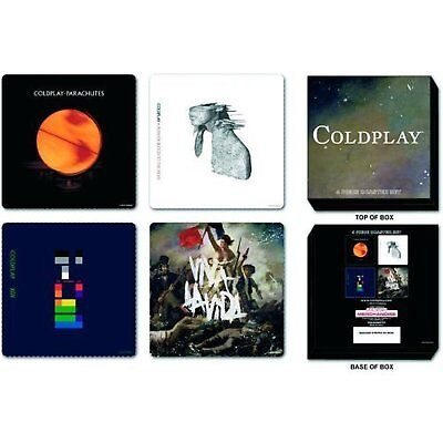 Coldplay 4 Drinks Coaster Set 4 Album Covers Logo Fan Gift Box CD 100% Official