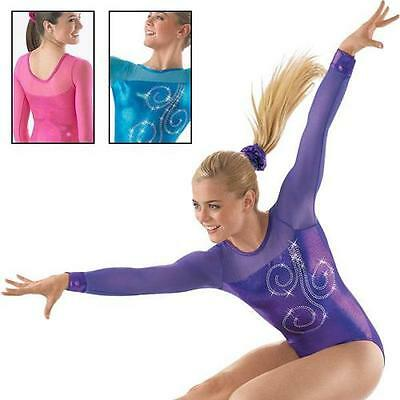 NEW PINK VELVET & FOIL DIAMONTES NET L/SLEEVES AL 66cm L12 Gymnastics Leotard