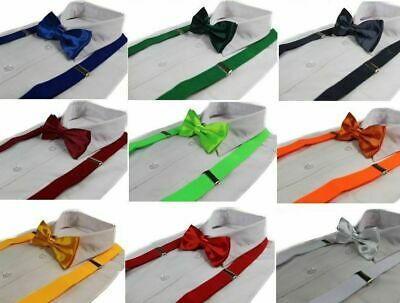 SUSPENDERS + BOW TIE PACK : Pretied Adjustable Braces Wedding Black White Red