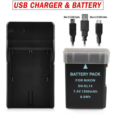 for NIKON EN-EL14 EN-EL14A REPLACEMENT BATTERY CHARGER DOCK CAMERA COOLPIX P7000