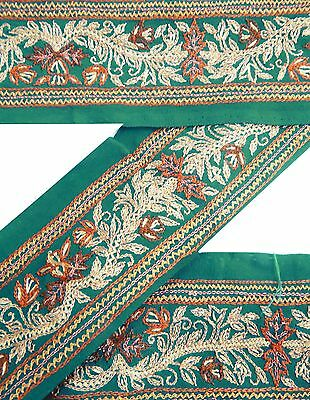 Weinlese-Sari Border Antique gestickte indische Trim 1YD Band Sewing Grüne Spitz