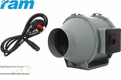 4 5 6 8 inch RAM Inline Mixed Flow UK Plug Hydroponics Grow Fan upto 840m3/hr