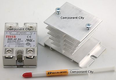 Solid State Relay SSR 40A + Heat Sink + Screws + Thermal Grease + Cover SSR-40DA