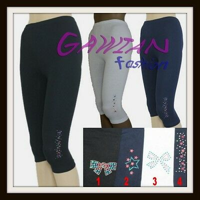 Girls 3/4 Length Cropped Decorated Leggings Cotton Active age 6M to 16Yrs Baby