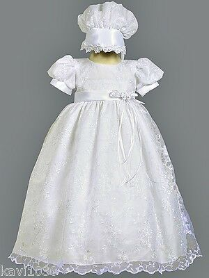 Girls Christening Baptism Dress Embroidered Gown White Tulle Size 0-18M