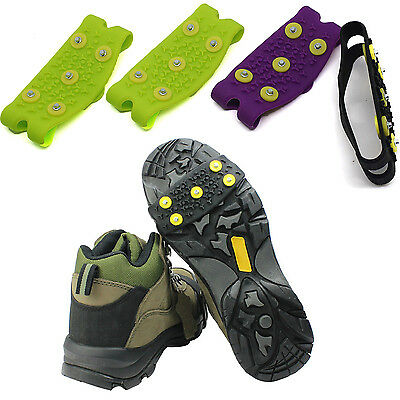 1Pair Anti Slip Snow Ice Climbing Spikes Grip Crampon Cleat 5-Stud Shoes Cover N
