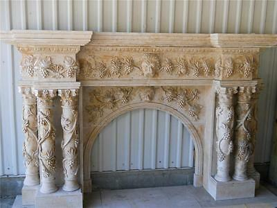 Monumental Hand Carved Marble Fireplace Mantel -- Mbz157