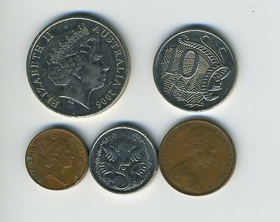 Australia - Lot of 5 Coins - 1, 2, 5, 10 & 20 Cents - Exotic Animals - Lot - #24