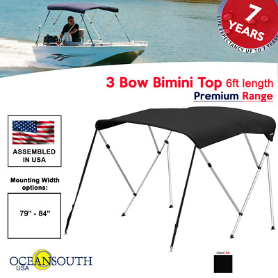 "Bimini Top 3 Bow 79""- 84"" Wide 6ft Long Black PREMIUM RANGE With Rear Poles"