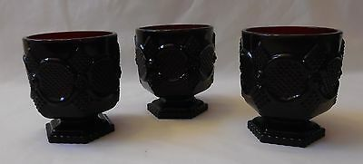 Avon Ruby Red Cape Cod Collection Footed  Pedestal Water Glass  Lot of 3