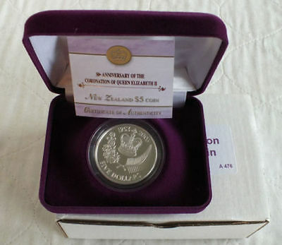 New Zealand -2003- Silver $5 Proof Coin- Queen's Coronation Anniversary!!!