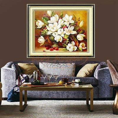46x37cm Chinese Gardenia Printed Counted Cross Stitch Embroidery Needlework Kit