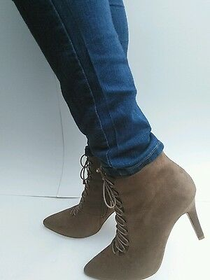Women's Fashion High Heel Lace-Up Boots Bootie Shoes 6-10