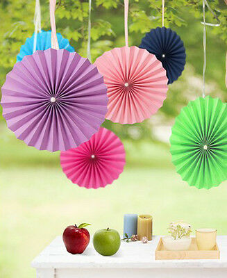 """6""""&8""""Handmade Creative Colorful Paper Flower Fans For Europe Charm Wedding Room"""