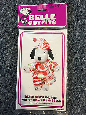 "Vintage Peanuts Snoopy Belle 10"" Plush Clown Pj's Pajamas Outfit Nos Sealed"