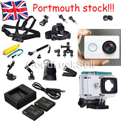 Genuine XiaoMi Yi Sport Camera+Accessories Kit+Dual charger Battery Case Belt UK