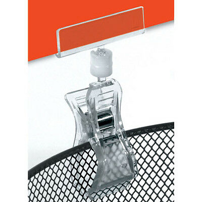 New Retails Large Plastic Clip On Sign Holders 4 inches High