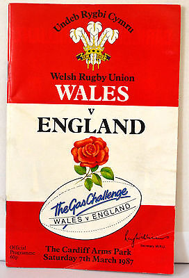 Rugby Union Programme - Wales Vs England - Sat 7Th Mar 1987 - Cardiff Arms Park