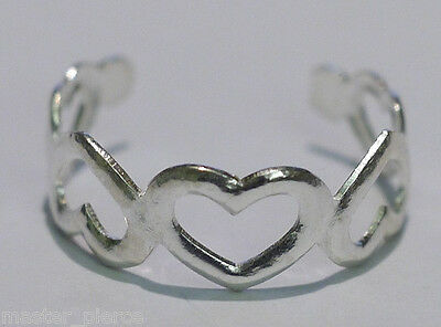 TJS 925 Sterling Silver Hollow Band of Hearts Design Toe Ring Adjustable