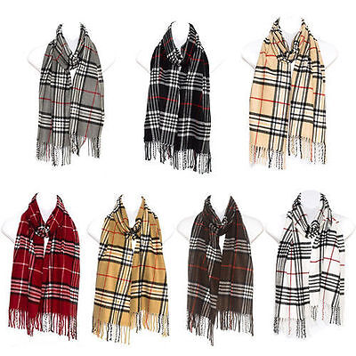 Mens Womens Tartan Checked Neck Scarf Plaid Shawl Warm Wrap Pashmina Stoles