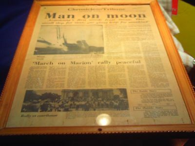 "MARION INDIANA  ""Man On the Moon""  FRAMED  Newspaper Clipping"