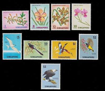1963 Singapore Flowers And Birds Kingsfisher Sunbird Sea Eagle Mint Vlh