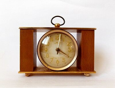 Vintage Old Soviet MARK Russian Desk Table Clock CCCP, retro wood & metal
