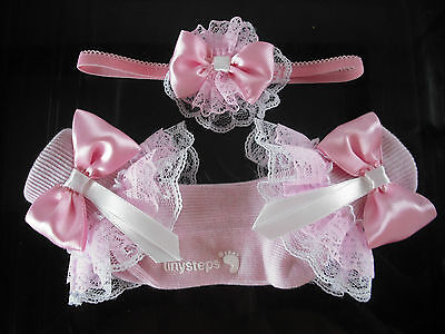 Girls Romany Frilly Socks In Pink With Matching Hair Band  Sizes 3- 5 1/2
