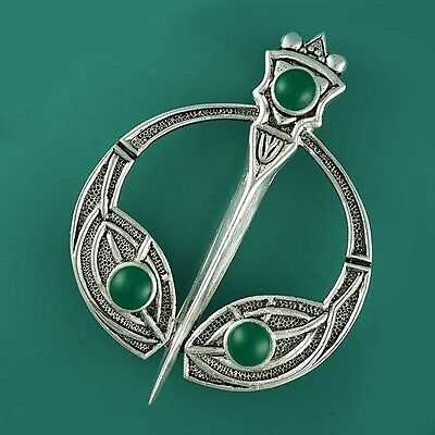 Vintage Silver Plated Celtic TARA Brooch Scarf Kilt Dancing Pin with Agate