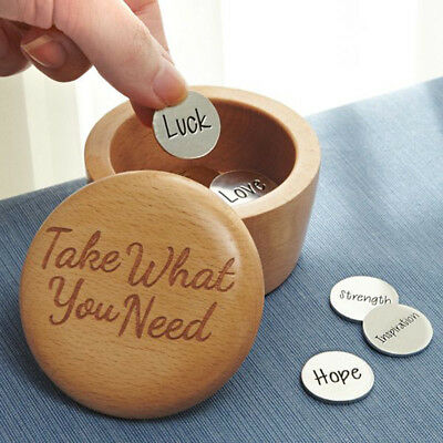 Inspirational Take What You Need Wooden Box with 9 Uplifting Inscribed Coins