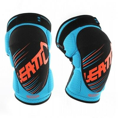 Leatt NEW Youth Mx 3DF 5.0 Kids BMX Blue Orange Motocross Junior Knee Guards Set