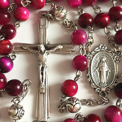Red Tiger Eye & Silver Rose Prayer Beads ROSARY CROSS NECKLACE CRUCIFIX CATHOLIC