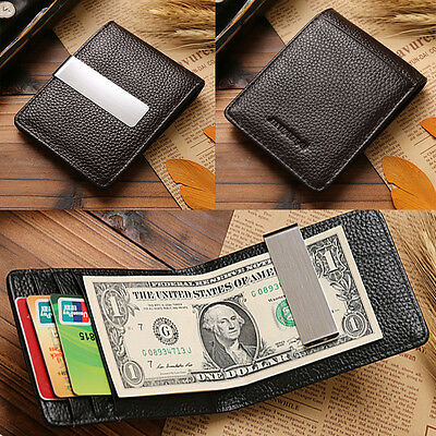 HOT Men Genuine Leather Silver Money Clip Slim Wallets ID Credit Card Holder