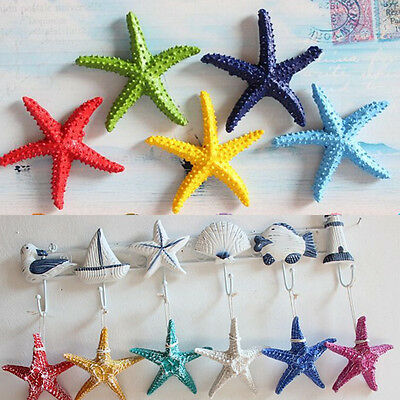 Resin Hanging Starfish Tropical Ornament Beach Ocean Sea Shell Home Wall Decor